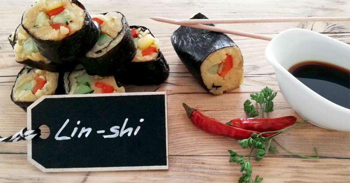 """Linshi"" – Veganes Sushi mit gelben Linsen"
